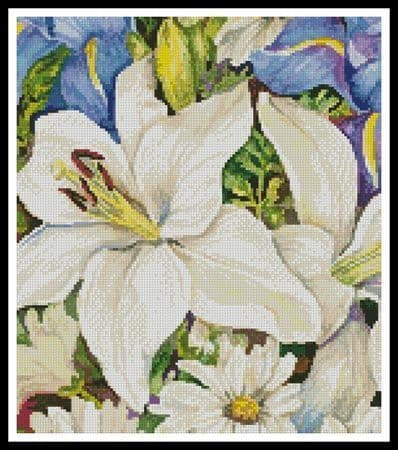 A Blue and White Mix (Crop) by Artecy printed cross stitch chart